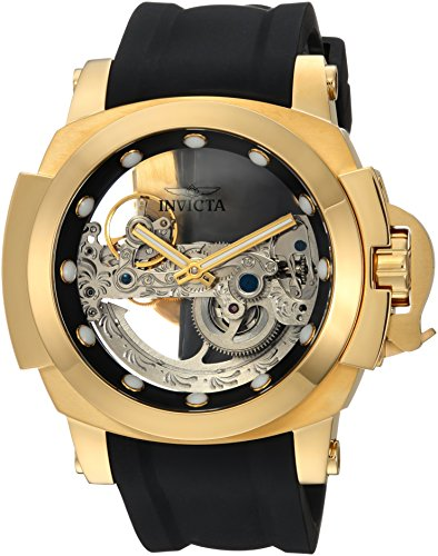 Invicta Men's Coalition Forces Stainless Steel Automatic-self-Wind Watch with Silicone Strap, Black, 25 (Model: 24708) (Bridge Watch Automatic)
