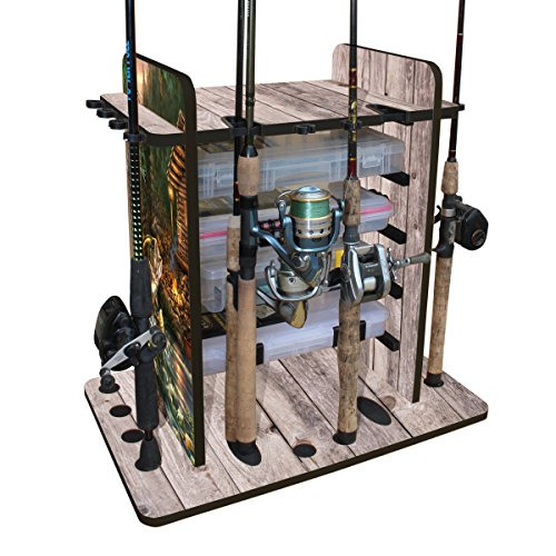 Rush Creek Creations 14 Fishing Rod Rack with 4 Utility Box Storage Capacity & Dual Rod Clips -  Sleek Design - Wire Racking System