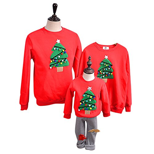 Tueenhuge Christmas Family Matching Outfit Thick Hoodie Hooded Sweatshirt with Fleece (Tree Red, 1-2 Years) (Family Christmas Sweaters)