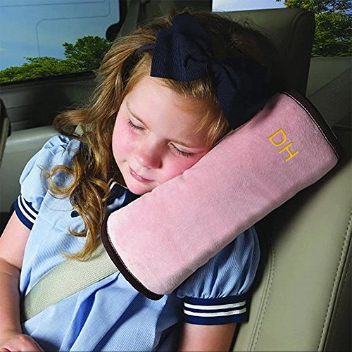 Kids Travel Pillow for Car Seat,Seat Belt Pillow Covers for Kids in Car,Softly Seatbelt Pillow for Baby Toddler Child Booster Carseat,Seat Belt Strap Neck Head Shoulder Support Cushion Pad (Pink)
