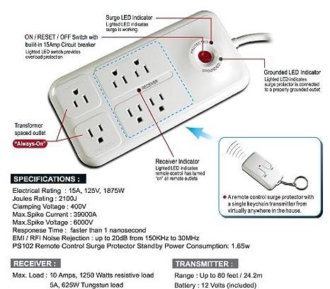 amazon com uninex rf remote control power managed 6 outlet 6ft rh amazon com