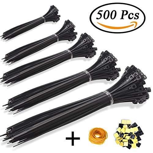 KASZOO Zip Ties 500 Pcs Nylon Cable Zip Ties with Self-Locking 4/6/8/10/12 Inch Black UV Resistant Heavy Duty by KASZOO