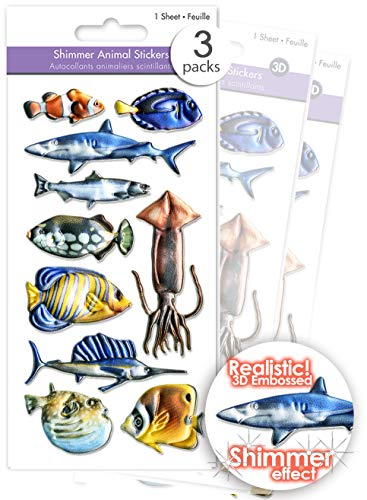 3 Pks Shimmer Puffy Fish Stickers for Kids, 3D Fish Stickers, Sea Life Stickers for Kids & Adults, Craft Fish, Fish Embellishments - Clown Fish, Jellyfish, Tropical Fish, Shark, Swordfish Bulk