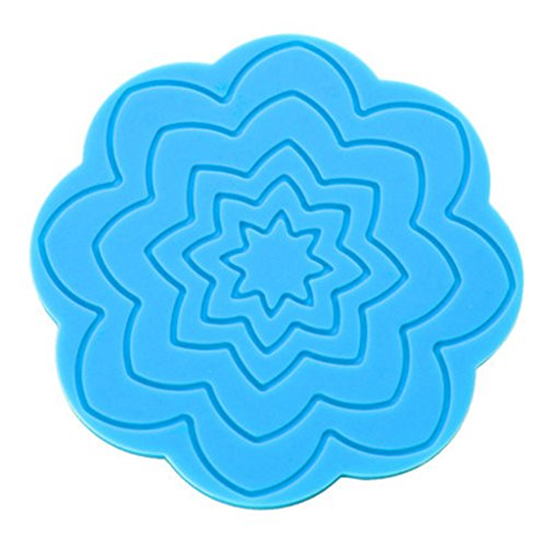 4PCS Durable Silicone Coasters Cup Mats Glass Holder Placemats Table Decor, Blue