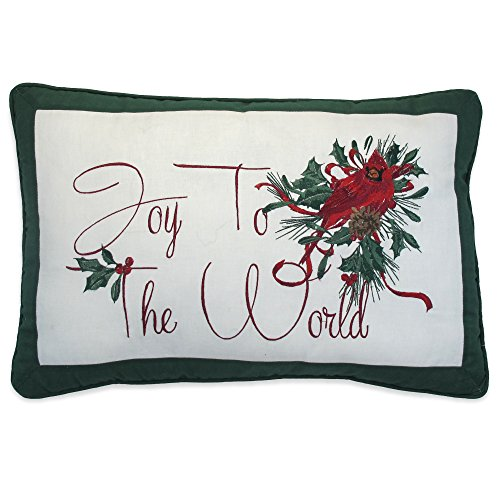 Lenox Winter Greetings Joy to the World 14 x 21 inch Decorative 100% Cotton Fiber Fill, 14 x 21 Pillow, 4 Piece
