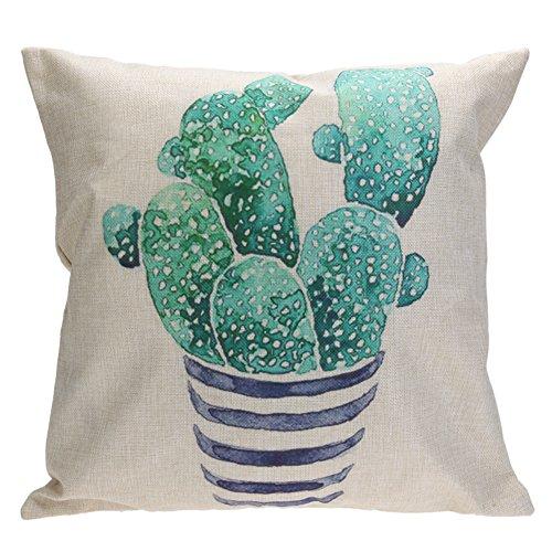 Whitelotous 18 x 18 Inch Creative Cactus Succulent Plants Cotton Linen Decorative Square Cushion Cover Throw Pillow Case Home Sofa Car Decor (3#)