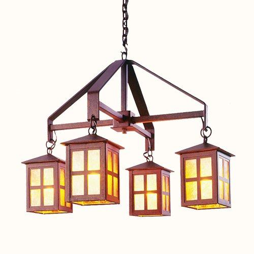 スチールパートナー照明2059-sm-b Old Faithfulシャンデリアwith Amber Micaレンズ、ブラック仕上げ、スモール B014Y92L7W