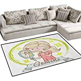 Zodiac Gemini,Carpet,Cartoon Style Little Girl with a Mirror and Reflection Twins Concept for Kids,Rug Kid Carpet,Multicolor Size:36''x48''