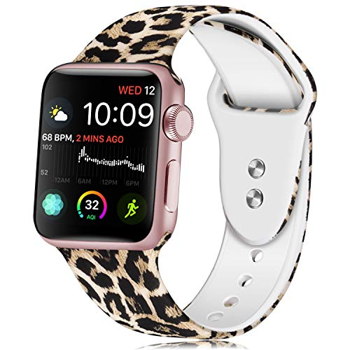 Haveda Band Compatible with A pp le Watch 38/40mm 42/44mm, Soft Pattern Printed Silicone Sport Replacement Wristbands for Women Men Kids with A pp le Watch Series 4 3 2 1