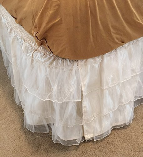 Organza Full Skirt (OctoRose Royalty 3 Layer Organza & Satin Easy Fit Bed Dressing Bed Skirt Dust Ruffle , Bedskirt (BK-Satin-T/F, Cream))