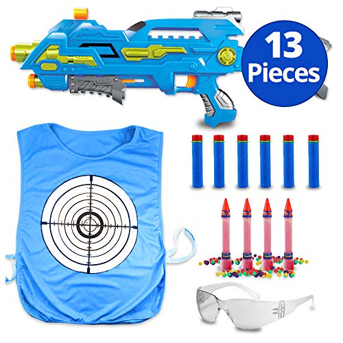 The Patriot Water Bead Gun, Orbeez Shooter with Water Color Change Vest and Safety Goggles, Gel Ball Pistol, 2 in 1 Orbs and Foam Dart Blaster Kids Paintball Alternative (Blue - Dart Foam Shooter