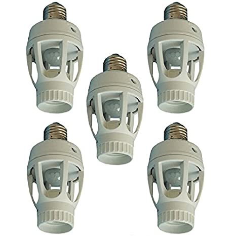 Paquete de 5 E27 LED luz soporte adaptador PIR infrarrojo Sensor de movimiento lámpara bombilla Socket