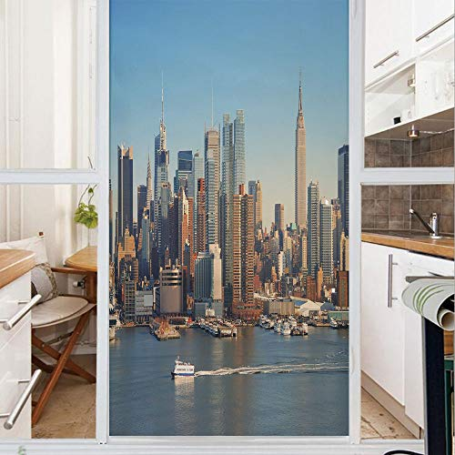 State Glass Mission Stained - Decorative Window Film,No Glue Frosted Privacy Film,Stained Glass Door Film,New York City Skyline over Hudson River Empire State Building Boats and Skyscrapers,for Home & Office,23.6In. by 78.7In Blue