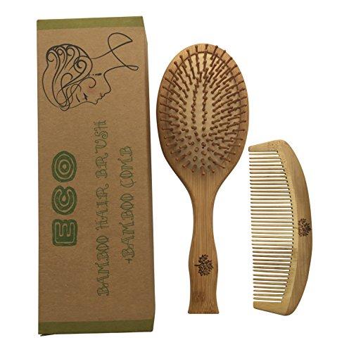 Bambus Haarbürste und Kamm aus Bambus 2 Stück Set Recycleable und Umweltfreundlich