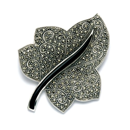 Wild Things Sterling Silver Marcasite & Simulated Black Onyx Ivy Leaf Combination Pin/Pendant