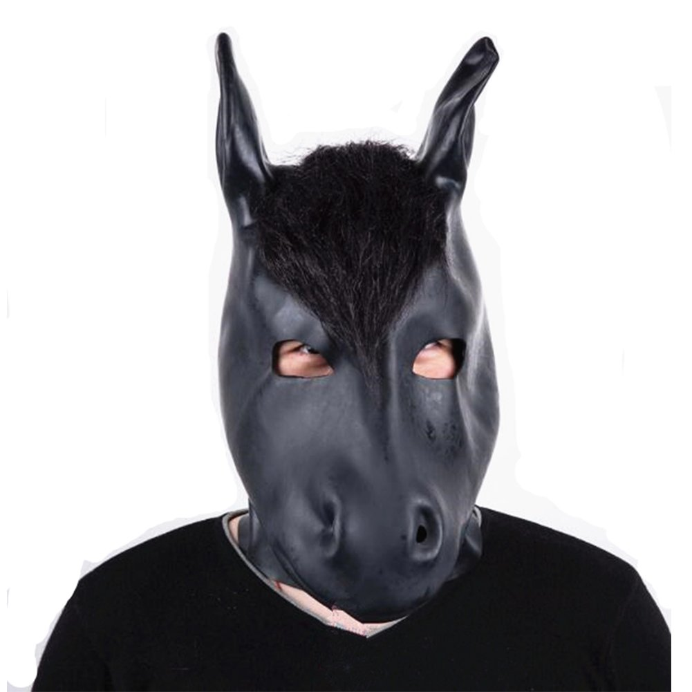 ZeHui Natural Emulsion Horse-Head Mask for Cosplay Restraints Sex Toy Adult Party Costume