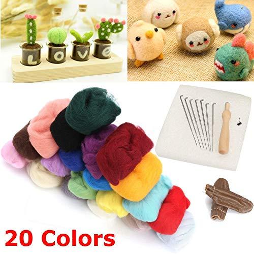 Lhoste 1Set 20 Colors Wool Felt + Needles Tools Needle Felting Mat Starter Tool Kit Home DIY Crafts Set