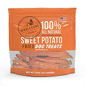 Wholesome Pride Sweet Potato Fries Dog Treats, Dehydrated, Made in The USA, Grain Free, Healthy Dog Chews, 16 oz from Wholesome Pride