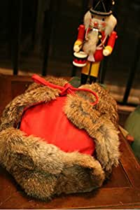 For Christmas Day~Ushanka Trooper Pilot Real Rabbit Fur and PU Leather Winter Trapper Bomber Hat, Fashion and Warm, 2 Colors and 2 Sizes Available (Size 1) (Red)