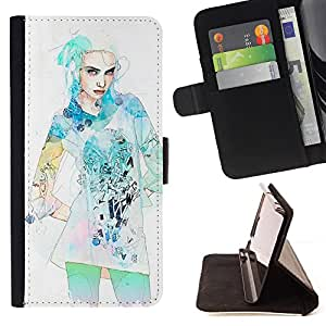 - Dress Fashion Star Model Watercolor - Estilo PU billetera de cuero del soporte del tir???¡¯????n [solapa de cierre] Cubierta- For LG G3 £¨ Devil Case £©
