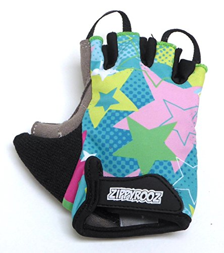 ZippyRooz Toddler & Little Kids Bike Gloves for Balance and Pedal Bicycles (Formerly WeeRiderz) For Ages 1-8 Years Old. 6 Designs for Boys & Girls (ZR Stars, Little Kids Large (5-6))
