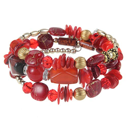 freedomer Design Bohemia Style Multilayer Wood Plastic Beads Bracelet for Women Bangles Jewelry Gift(Adjustable,Red)