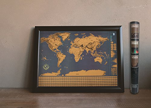 Wonderful Maps Scratch Off World Map. Perfect Gift for Travelers. With Country Flags, US States, Australian States and Canadian Provinces On Black Background. Prime World Scratch Map Poster. Photo #5