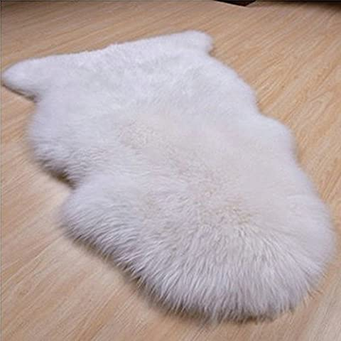 RexRod Faux Sheepskin Rug Single Pelt for Seat Pad and Floor (white) (Tan Sheepskin Rug)