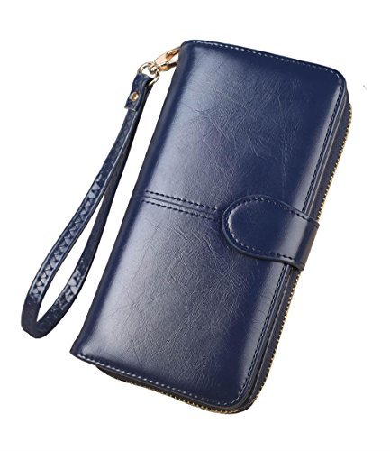 Wallet Womens Blue (Aiyo Fashion Large Capacity Wallet,Multi Card Wallet,Cell Phone Wallet,Leather Women Wallet (Blue))