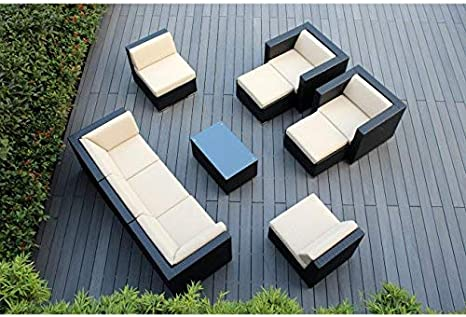 Ohana 10 Piece Outdoor Patio Furniture Sectional Conversation Set Black Wicker With Beige Cushions No Assembly With Free Patio Cover Garden Outdoor Amazon Com