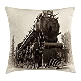 Heart Pain Steam Engine Throw Pillow Cushion Cover, Antique Northern Express Train Canada Railways Photo Freight Machine Print, Decorative Square Accent Pillow Case, Black Grey