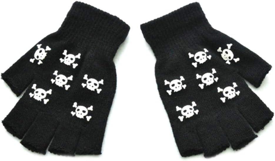 JHD Hombres Mujeres Adultos Halloween Esqueleto Calavera Medio Dedo Guantes Resplandor en la Oscuridad Luminoso Sin Dedos Estiramiento de Punto Invierno C/álido Mitones Cosplay Disfraz