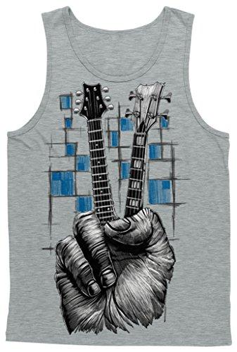 Gray Street Sign (Blittzen Mens Tank Top Fingers Peace Sign Guitar Necks, M, Light)