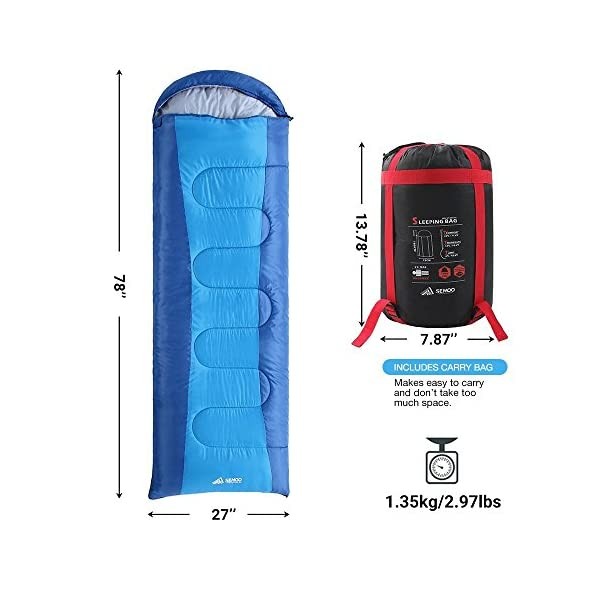 Semoo Envelope Sleeping Bag Lightweight Portable Water Resistant Comfort With Compression Sack Temp Rating 23F 5C Great For 3 Season TravelingBackpacking Camping Hiking