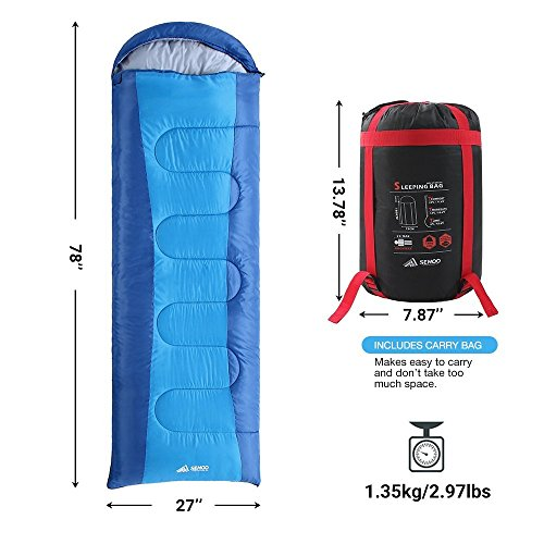 SEMOO Envelope Sleeping Bag Lightweight Portable Waterproof Comfort With Compression Sack Temp Rating 23F 5C Great For 3 Season TravelingBackpacking Camping Hiking
