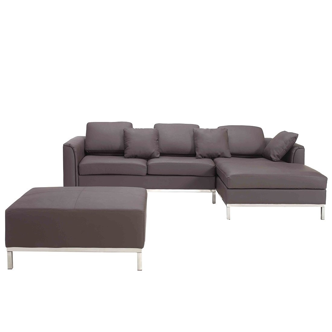 Amazon.com: Beliani Oslo Modern Leather Sofa with Chaise and Ottoman ...