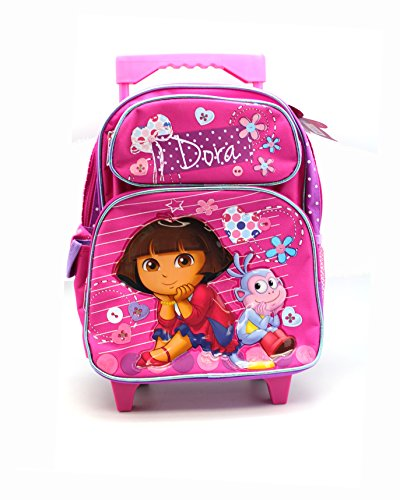 Small Size Pink and Purple Dora the Explorer Rolling Backpack Luggage