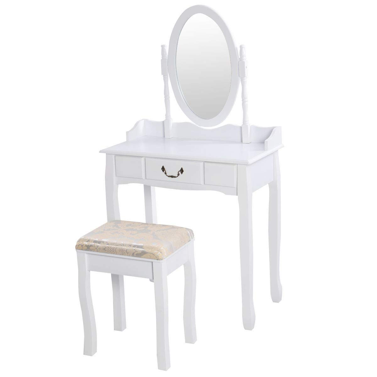 USA_Best_Seller New Chic White Vanity Makeup Dressing Table with 360 Degrees Rotating Mirror Sturdy and Durable Home Bedroom Furniture Long Lasting Spacious Large Table Top