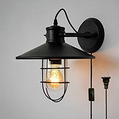 Kiven Vintage Wall Light Retro Industrial Edison Glass Lampshade Iron Mini Wire Cage Plug-In Wall Sconce Iron Shade Wall Lamps Sconce Fixtures For Loft Bar Pub Hotel Bedroom 1-Light