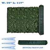 E&K Sunrise 39' x 117' Faux Ivy Privacy Fence Screen with Mesh Back-Artificial Leaf Vine Hedge Outdoor Decor-Garden Backyard Decoration Panels Fence Cover - Set of 1
