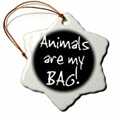 3dRose Bag Animal Lover Pet Owner Or Vet Black and White Text Snowflake Ornament, 3''