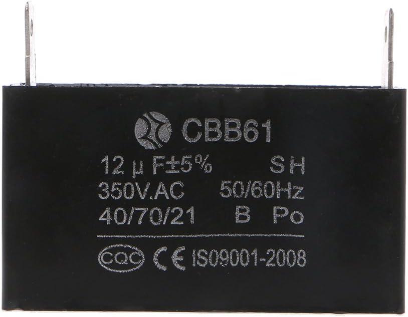 Yziss Black 12uF Generator Capacitor Generator CBB61 12uF 50//60Hz 350VAC Fan Motor