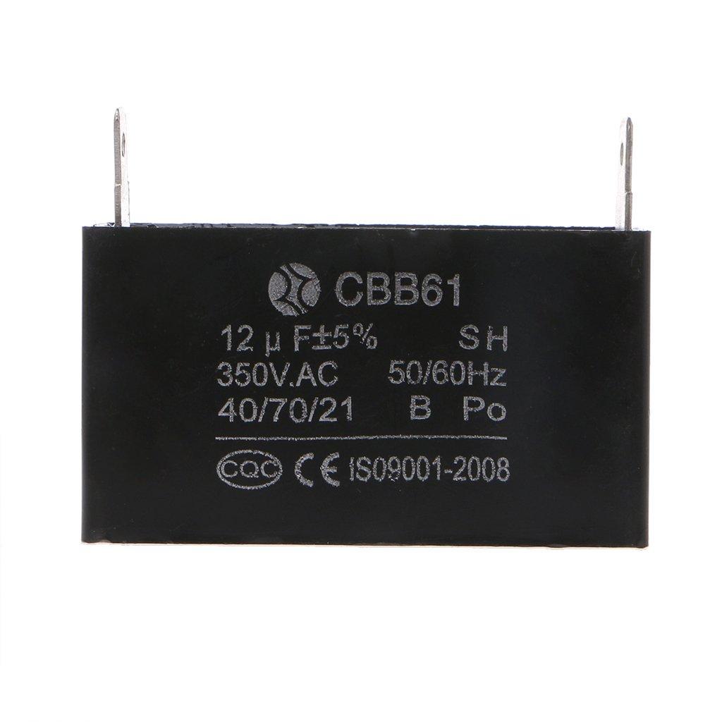 Bogji 60Hz 350VAC motor de ventilador Negro 12uF generador condensador generador CBB61 12uF 50