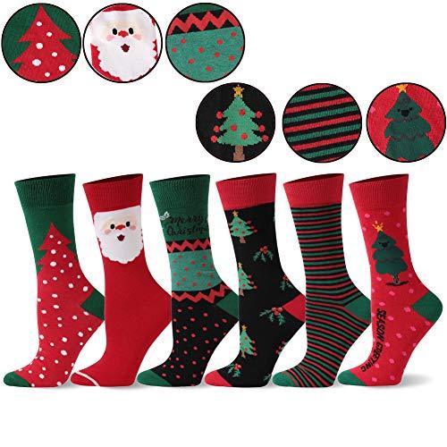 Cute Novelty Dress Holiday Crew Socks for Women, SHETOP Mens Fashion Funny Holiday Dress Socks Funny Casual Crew Cute Happy Socks Unisex Fun Socks Gifts for Husband 6 Pairs