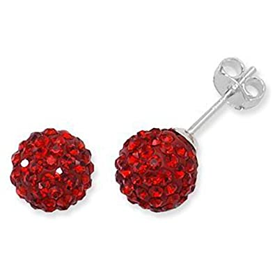ab99596c5 Red Swarovski Stud Earrings - Ball Studs 8mm - Sterling Silver Disco Ball  Style Stud Earring: Amazon.co.uk: Jewellery