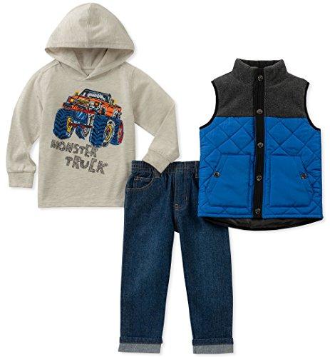 Kids Headquarters Baby Boys 3 Pieces Vest Set, Oatmeal/Blue, 18M