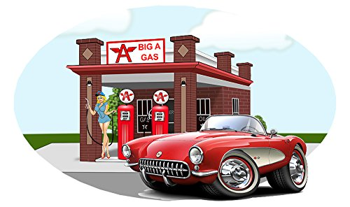 1956 Corvette Big A Gas Station Wall Decal Mural Vinyl Sticker Classic Car RED 12