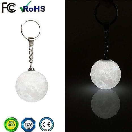 Mini Moonlight LED llavero 3D Print, llavero 3D Moonlight colgante, para niñas Safety Nightlight llavero monedero llavero llavero del coche mochila