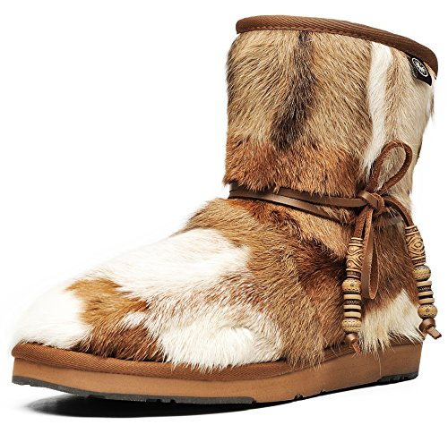 Aumu Women's Classic Mini Sheepskin Winter Boot Fur Boot Chestnut Size 4