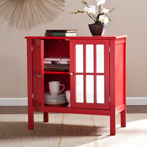Southern Enterprises Pike Mirrored Console Table With Storage In Red